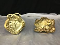 Art Nouveau bronze tidies with one signed H. Cognet