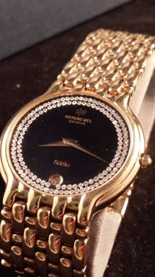 Raymond Weil - Fidelio - 18k 10m yellow gold - gem set (diamonds?) - 男士 - 1980-1989