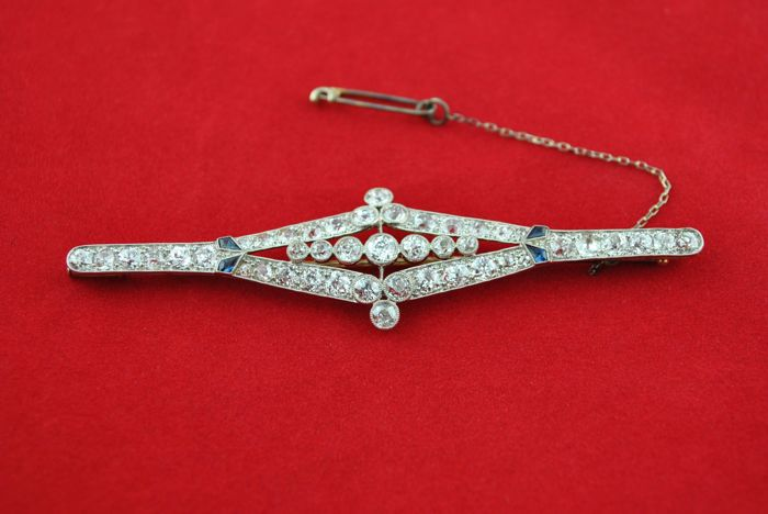 Authentic Antique Art Deco - PT 950 Platinum - Brooch Diamond - Sapphire