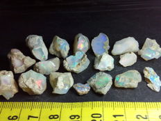 Beautiful Natural Rough Welo Opal - 10 to 21 mm - 98,1 cts