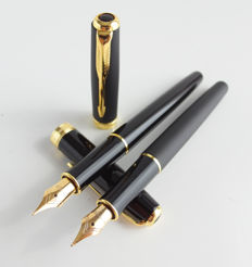 Parker: 2x luxury Sonnet fountain pen: Matt Black and gloss black with gold-plated accents, with Parker gift box (039-8)