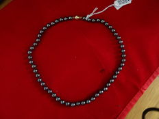 Hematite necklace / Blood stone with 14 kt gold clasp.