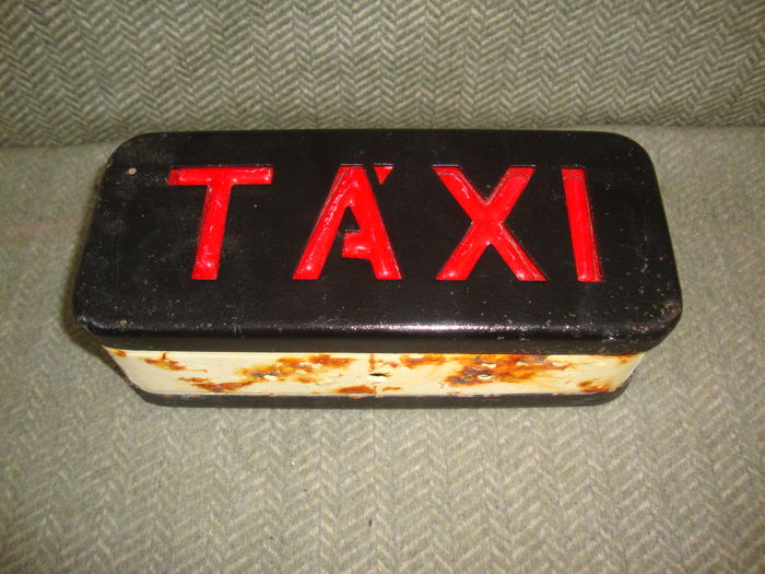 Vintage Portuguese Taxi Sign from Green & Black Cab - Catawiki