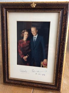 Official Portrait of King Baudouin and Queen Fabiola of Belgium - signed -in beautiful official frame