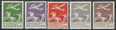 Denmark, 1925/1929, Flying Airplan and Plough, Unified catalogue A 1/5