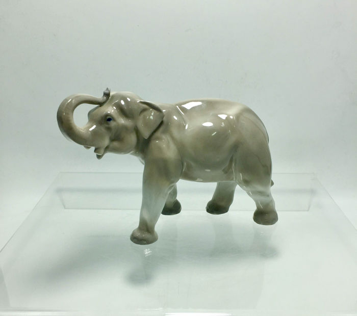 Antique Elephant Porcelain Figurine - Marked