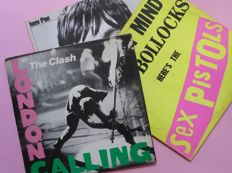 Set of 3 New Wave/Punk classics; The Clash, London Calling  (2), The Sex Pistols, Anarchy in the UK and Iggy Pop, Lust for Life