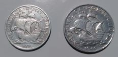 Portugal - Lot of 2 Coins of 10 Escudos in AG(835) SILVER - 1934 - 1940 - Portuguese Republic - Lisbon - UNC