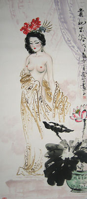 Hand painted scroll of beauty贵妃出浴 - China - late 20th/21st century