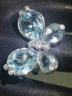 'Butterfly' ring with blue topaz and diamonds.