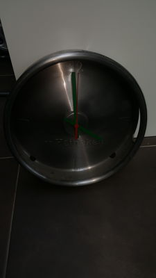 Metal wall clock Heineken cap beer barrel