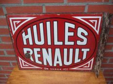 Renault Huiles motor oil -1937- double sided with wall support