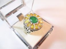 Handmade 925 Silver Ring - Natural Yellow Ruby, Emerald Gemstones - **No Reserve Price**