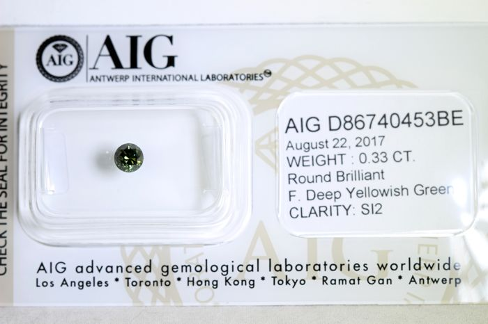 Fancy Deep Yellowish Green Diamant ( Color Treated )  - 0.33 ct  - SI2