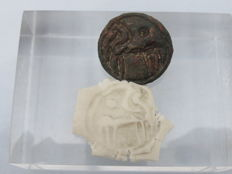 Celtic bronze seal with a horse engraving from the late iron age - 2.2 cm. x 0.7 cm.