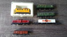 Fleischmann N - Diesel locomotive Series V100 with 4 wagons of the DB & 1x rail cleaning wagon