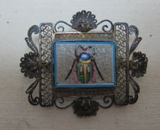 Antique micro mosaic and silver brooch