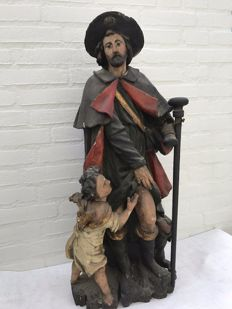 Large  polychrome wooden sculpture of St Rochus - Flanders, Belgium - 18th century