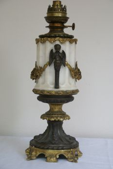 Wild & Wessel Berlin - Oil lamp on marble and bronze foot - 1865-1899, Germany