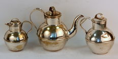 Antique Silver Plate Three Piece Tea Set, 19th Century