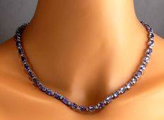 47.30 Carat Tanzanite 14K Solid White Gold Diamond Necklace - Length: 17 Inches (43.2 Centimeters) ***Free Shipping*** No Reserve***