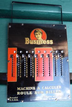 Antique calculator Business, metal with wood, Master Brussels Belgium 1928