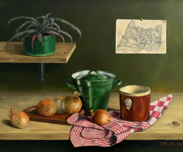 Jan Muijs (1925 - 2015) - Still life with onions, pot and drawing
