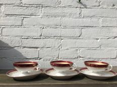 3 French cups and saucers, probably Limoges, Napoleon