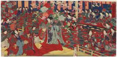 "Original triptych woodcut by Toyohara Chikanobu (1838–1912) - ""Singing and Dancing in the Modern Style"" - Japan - 1878"