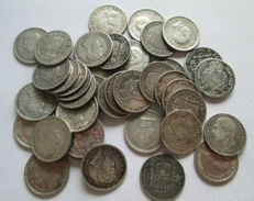 Spain - Alfonso XII / XIII - Lot of 50 coins of 50 Centimes - Silver