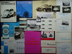 VOLKSWAGEN Type 1 (Coccinelle, Käfer, Beetle), Type 3, KARMANN -GHIA, etc etc  - Mixed lot of sales brochures, press informations & photos, price lists, etc