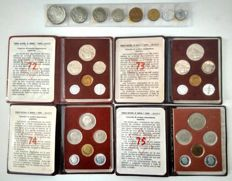 Spain - Franco - Issue 1971 + 4 official cases FNMT - 1971/72/73/74/75 - Proof (32 coins)