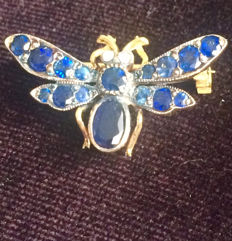 Vintage Bee brooch  with old cut Sapphires and Diamond, No Reserve