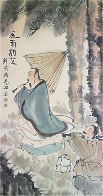 Hand-painted scroll painting (reproduction Fu Baoshi)《傅抱石-風雨訪友》镜心- China - late 20th century