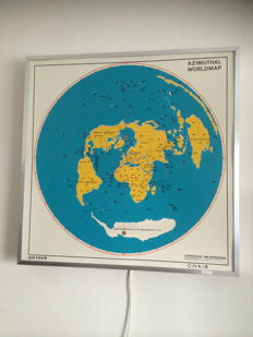 Wall Azimuthal World - map with backlight 20th century