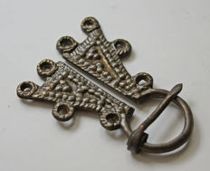Early medieval silver-plated bronze Omega Viking fibula, - 57 x 43 mm