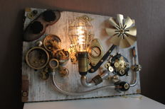 Hand made steampunk style wall lamp