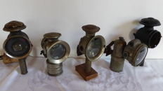 Carbide and candle lanterns - Radsonne - Bauer - Luxor - 5 x bicycle, moped, motorbike lanterns