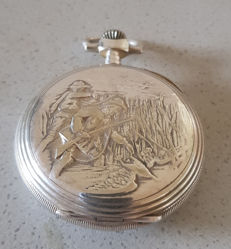 16. G. Tribaudeau, Besancon – splendid pocket watch with depiction of a hunt - France circa 1880