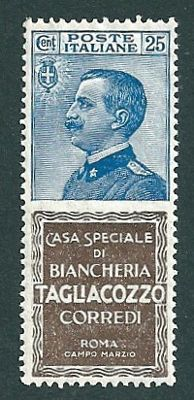Kingdom of Italy 1924/1926 - 25 c. Publicity Stamp with 'Tagliacozzo' Tab - Sass. N. 8
