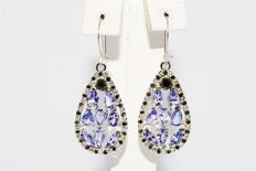 "4.20 ct Gold (14 kt) Dangle earrings with tanzanite and black diamonds - Length: approx. 3.5 cm ""No reserve"""