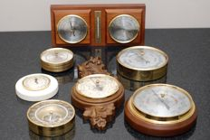 Collection of 7 old barometers and 1 with hygrometer and thermometer