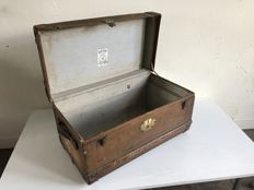 Old fashioned brown trunk with leather handles