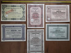 6 original stock certificates of classic cars - different types