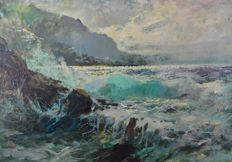 Italian school (20th century) - A stormy seascape