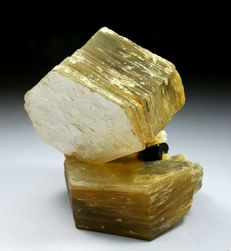 Outstanding Twin of Golden Muscovite Mica with DT Tourmaline - 76 x 70 x 45 mm - 293 gm