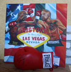 Floyd Mayweather Jr and Conor McGregor Dual Hand Signed USA Boxing Everlast Glove on the One of a Kind Original Oil Painting Artwork 50x50 cm TMT Money Team Autographed Beckett BAS witnessed COA History Fight