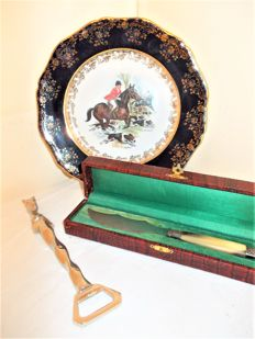 A beautiful Limoges Decorative Plate with Hunting Scene & a Heavy Bottle Opener with Horsehead & an Antique Foie Gras Knife in Pouch