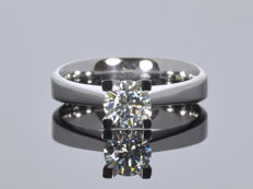 14K White Gold Ring with created Moissanite - Size 56.5 (ø 18 mm)