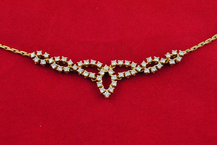 Fantastische Diamond Necklace (met 50 Diamanten Tot. +/-2. 50CT) instellen op op 18k/750 Yellow Gold